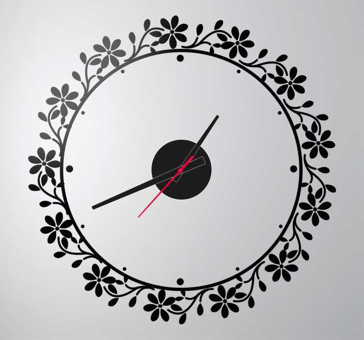 Floral Circle Frame Clock Sticker - TenStickers