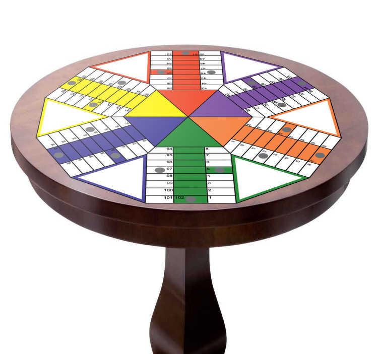 TenVinilo. Adhesivo tablero parchis geométrico. Vinilos Parchís para colocar sobre mesas, pensado para seis jugadores. Este vinilo original os permitirá pasar el rato en familia o con amigos jugando a un juego que nunca pasa de moda.