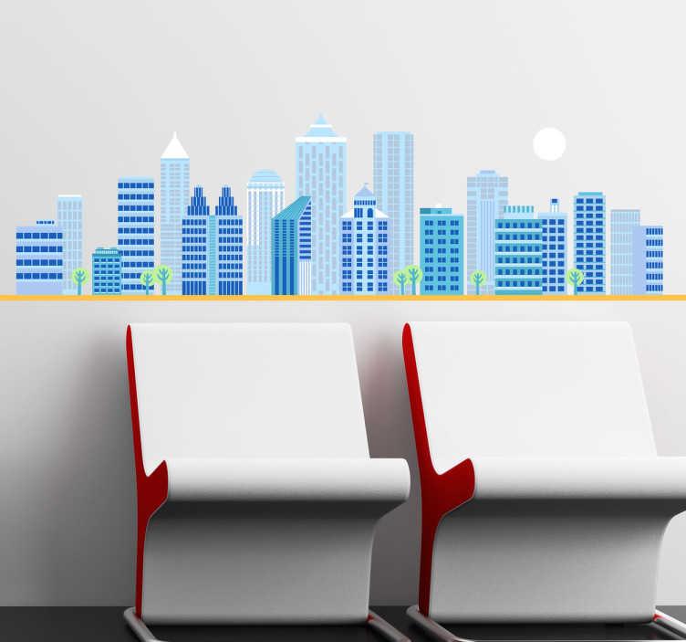 TenStickers. Sticker skyline stedelijk. Een leuke muursticker met hierop een stedelijke skyline met hoge wolkenkrabbers. Bepaal zelf de gewenste grootte voor deze leuke muurdecoratie.