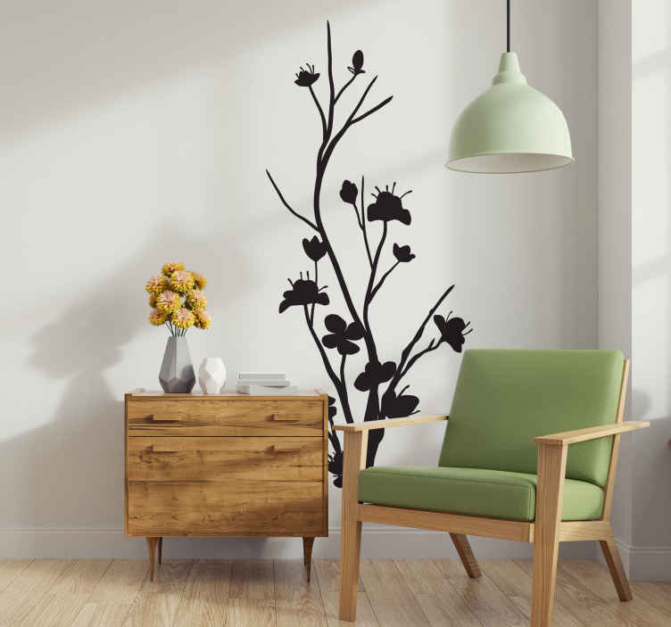 TenStickers. Slim Tree Wall Sticker. Wall Stickers - Monochrome design of a slim exotic tree. Give an elegant and natural touch to any room with this feature.