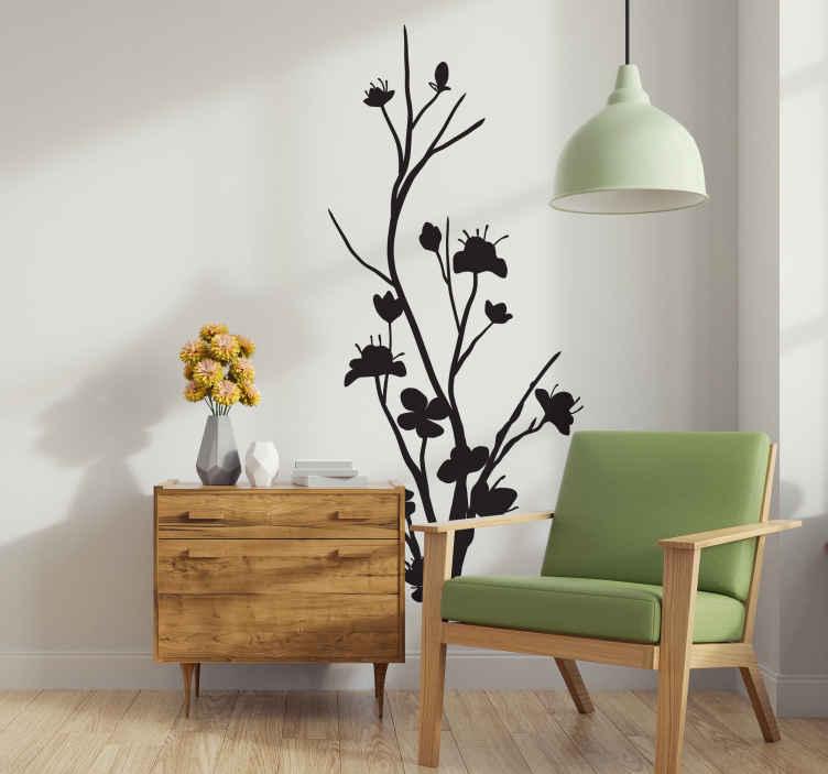 TenStickers. Sticker arbre fin. Personnalisez votre intérieur avec cette silhouette d'arbre fin d'inspiration orientale. Un design élégant pour une décoration unique.Sélectionnez la couleur et les dimensions de votre choix pour un sticker adapté à votre intérieur.
