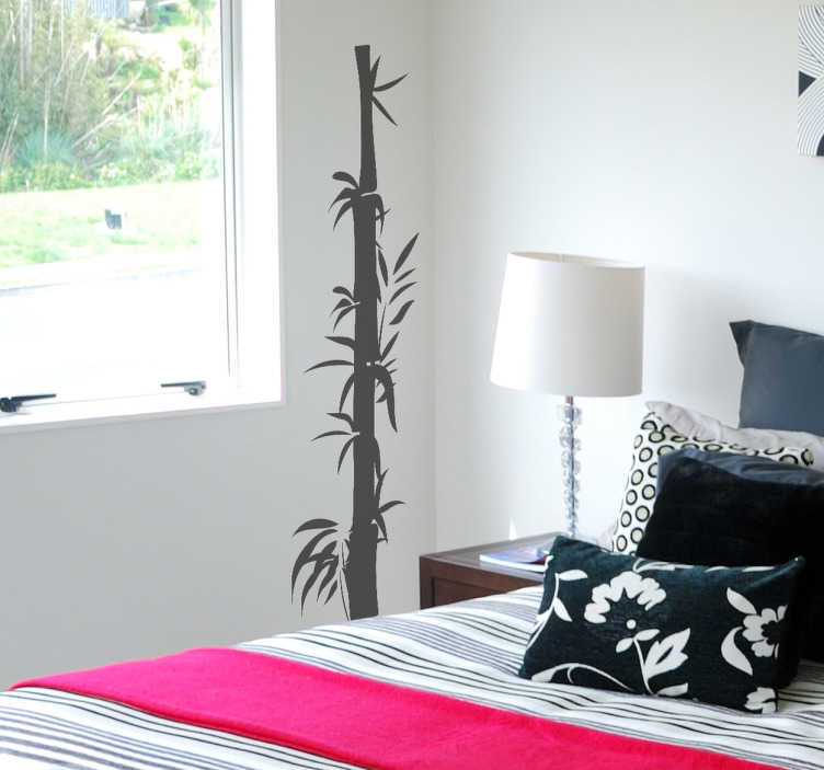 TENSTICKERS. オリエンタルバンブーデカール. 竹の壁のステッカー - 竹の柄のユニークなシルエットのデザイン。あなたの家やビジネスにアジアのインテリアを提供するオリエンタルな機能。