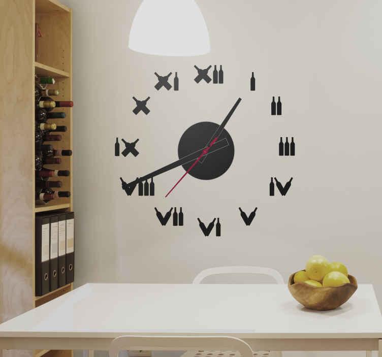 TenStickers. Wine Bottles Clock Sticker. Wall Clocks - Original clock design with roman numerals made with wine bottles.