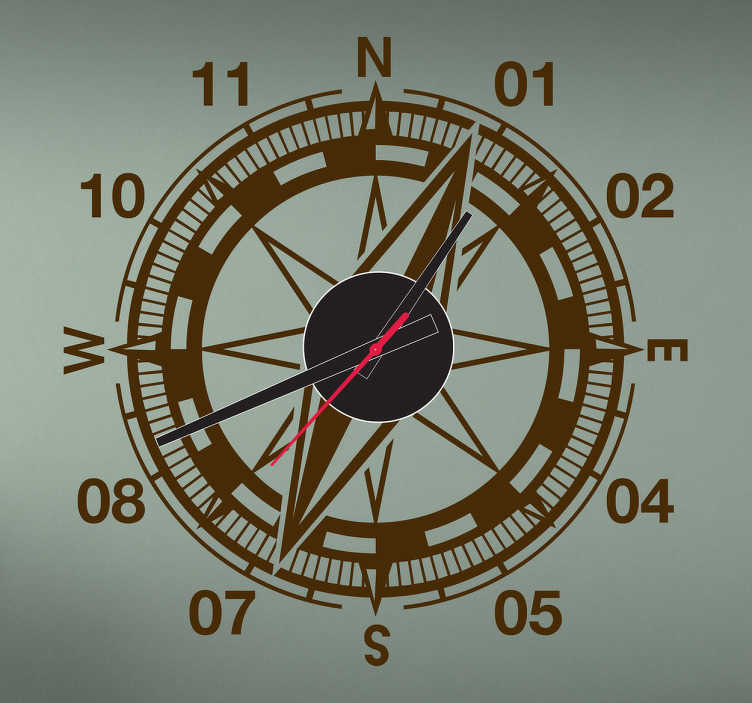 TenStickers. Compass Clock Sticker. Compass design. Original and distinctive, ideal for decorating any space. If you would like the clock mechanism we also have these available  to buy!
