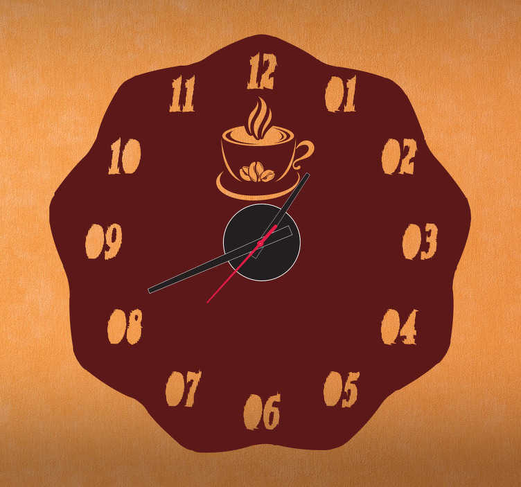 TenStickers. Sticker horloge café chaud. Sticker horloge café chaud parfait pour décorer votre cuisine, café, bar ou restaurant.   Comprend horloge 23 cm de diamètre et mécanisme 8,5 cm de diamètre.  Aiguille heures : 9,3 cm / Aiguille minutes : 13,2 cm / Aiguille secondes : 9 cm