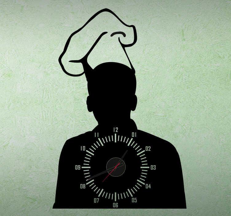 TenStickers. Naklejka zegar szef kuchni. Naklejka dekoracyjna, która przedstawia zegar z wbudowanym mechanizmem.