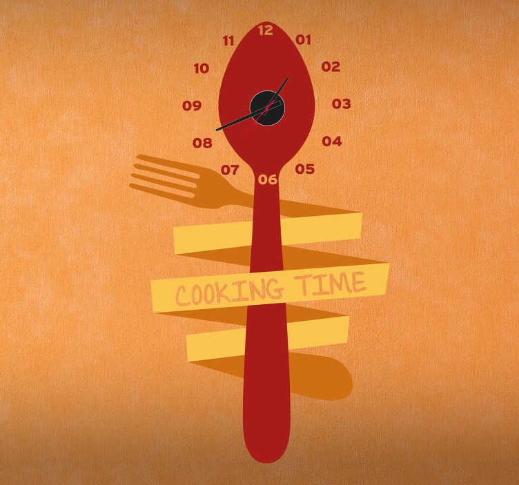 TenStickers. Fork & Spoon Clock Sticker. Wall Clocks - Abstract design including a spoon and fork. Original and distinctive, ideal for decorating the home kitchen or for your business.