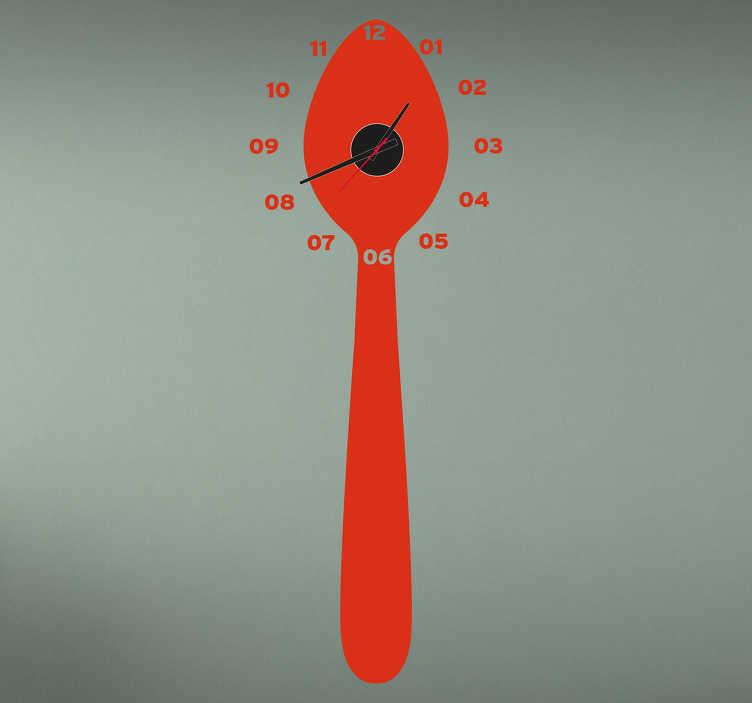 Sticker horloge cuillère