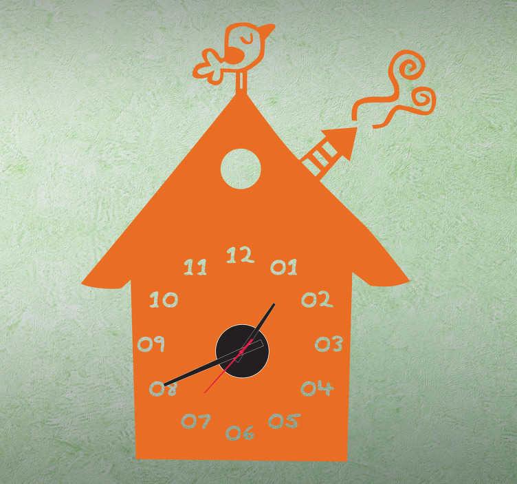 TenStickers. Sticker horloge maison. Décorez les murs de vos enfants avec ce sticker maison tendre et original. Maintenant vos enfants sauront lire l'heure !   Comprend horloge 23 cm de diamètre et mécanisme 8,5 cm de diamètre.  Aiguille heures : 9,3 cm / Aiguille minutes : 13,2 cm / Aiguille secondes : 9 cm