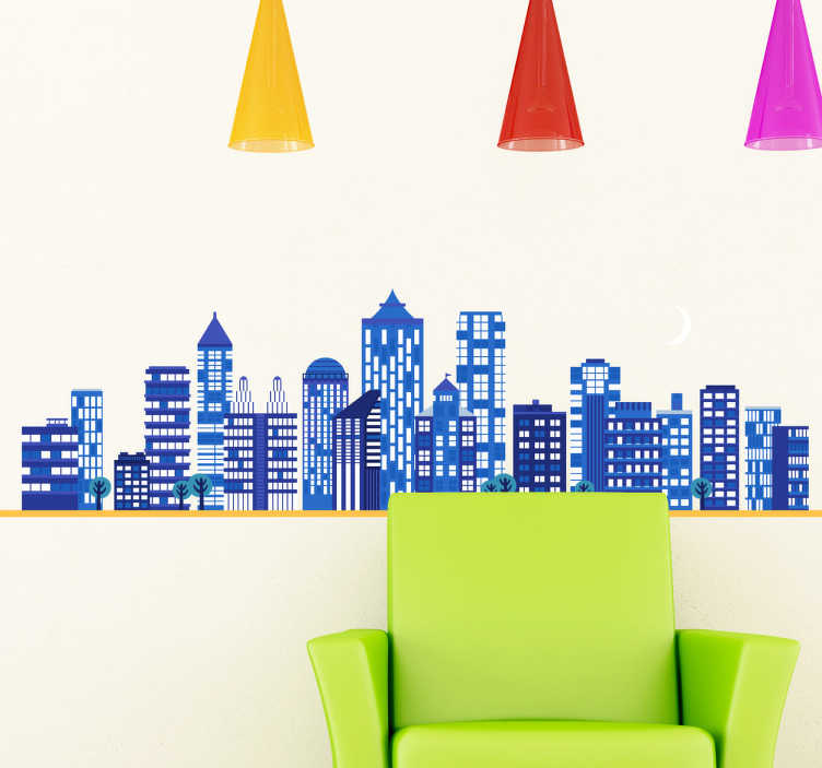 TenStickers. Night City Wall Sticker. Room Sticker - Urban and contemporary design of a city at night under a half moon. Decals ideal to decorate your home.