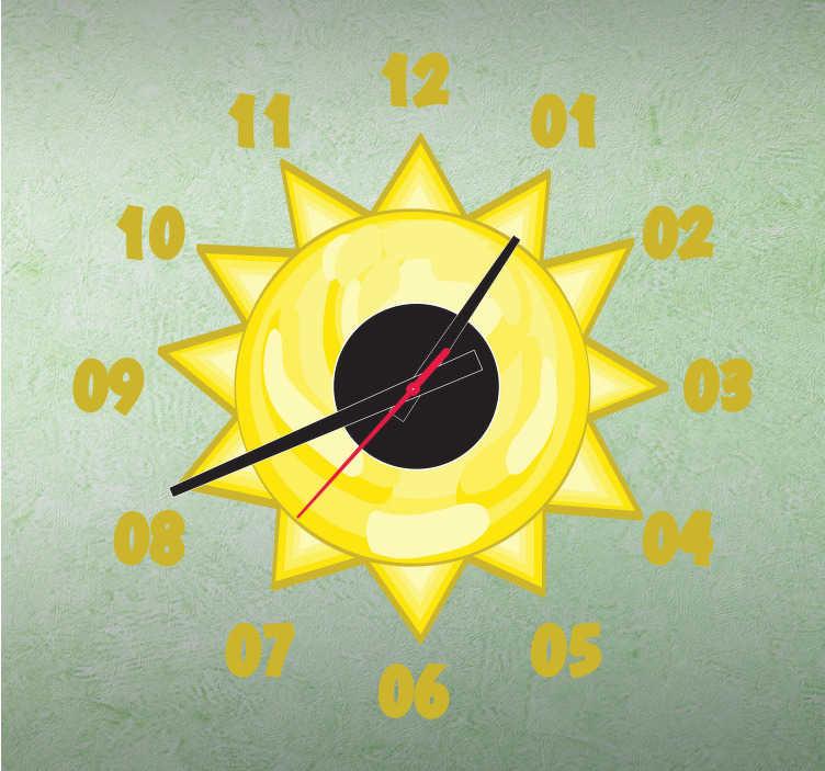 TenStickers. Sticker horloge soleil. Illuminez votre pièce avec ce sticker horloge ensoleillé.  Comprend horloge 23 cm de diamètre et mécanisme 8,5 cm de diamètre.  Aiguille heures : 9,3 cm / Aiguille minutes : 13,2 cm / Aiguille secondes : 9 cm