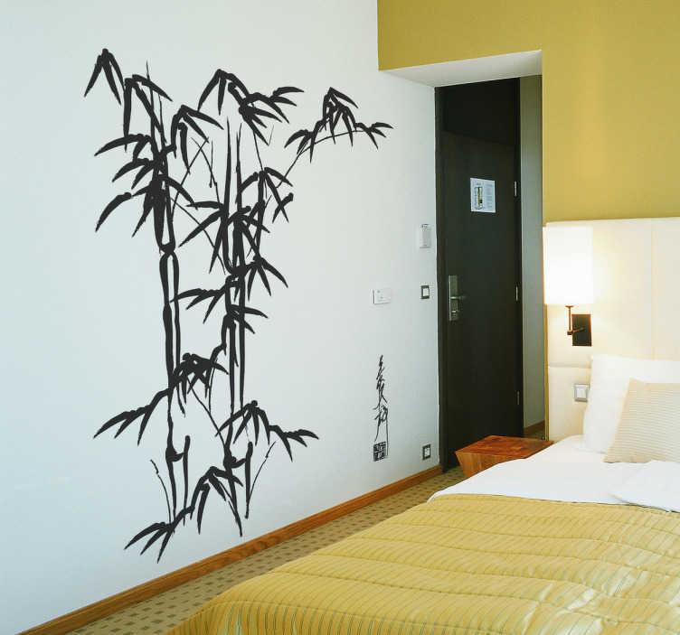 TenStickers. Naklejka bambusowa ściana. Naklejka na ścianę przedstawiająca wycinek z bambusowego lasu, wprowadzi do wnętrz relaksacyjną atmosferę.