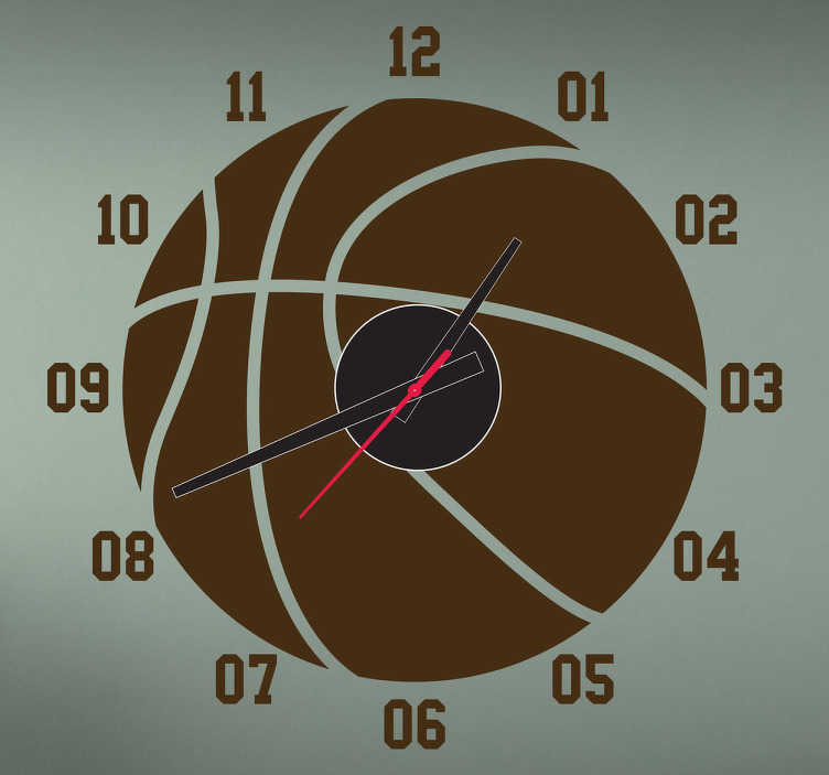 TenStickers. Basketball Clock Wall Sticker. A wall clock for fans of basketball! A sports wall sticker that is a creative design. Can encourage children to learn the time in a fun way!