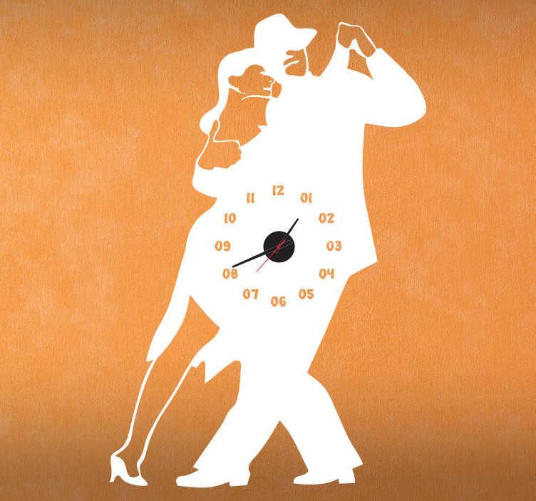 TenStickers. Tango muursticker met klok. Voor de echte Tango dansers onder ons of  voor de mensen die hun saaie standaard klok zo zat zijn! Een origineel sticker met een klok!
