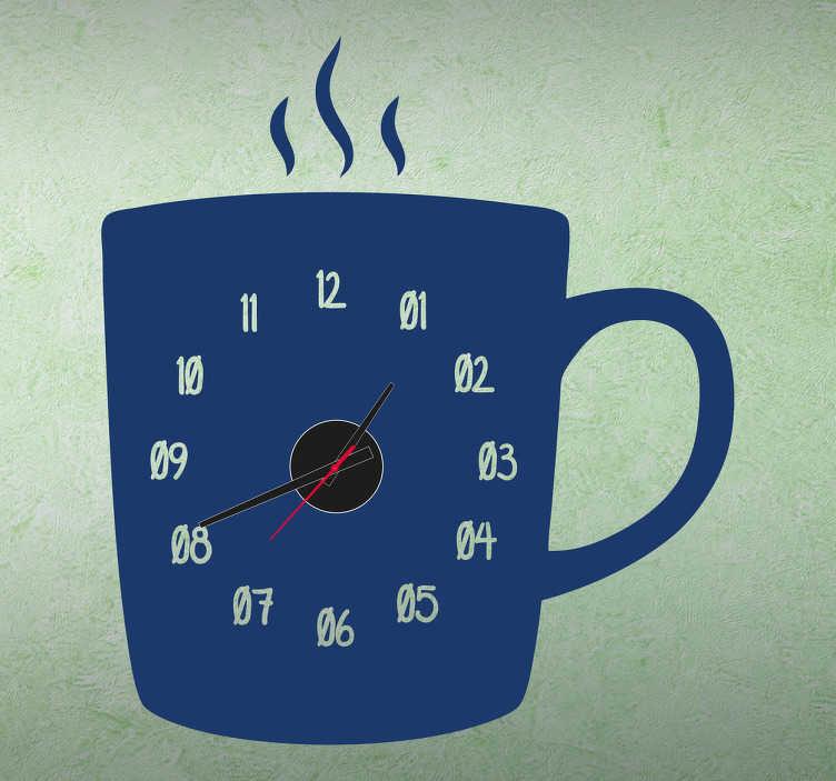 TenStickers. Naklejka zegar kubek. Naklejka dekoracyjna do kuchni w postaci zegara ściennego, który przedstawia kubek z unoszącą się parą gorącej  kawy bądź herbaty.