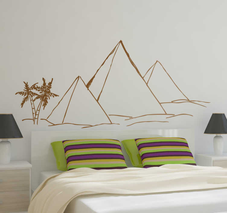 TenStickers. Desert Pyramids Wall Sticker. Room Sticker - An Egyptian theme design of pyramids in the desert. Select the size and colour of your choice.Decals ideal to decorate your home.