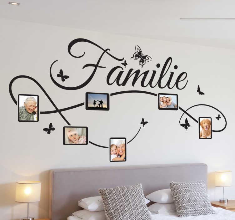 TenStickers. Familie Aufkleber. Dieses besondere Wandtattoo Design kann mit den Fotos Ihrer Familie personalisiert werden. So machen Sie Ihre Wand garantiert zum Hingucker!