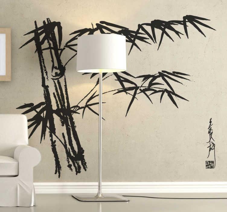 TenStickers. Asya bambu duvar sticker. Evinize oryantal bir atmosfer ve stil vermek için egzotik bir bambu ağacı çıkartması. Eğer doğayı ve bambunları seviyorsanız, bu sizin için mükemmeldir!