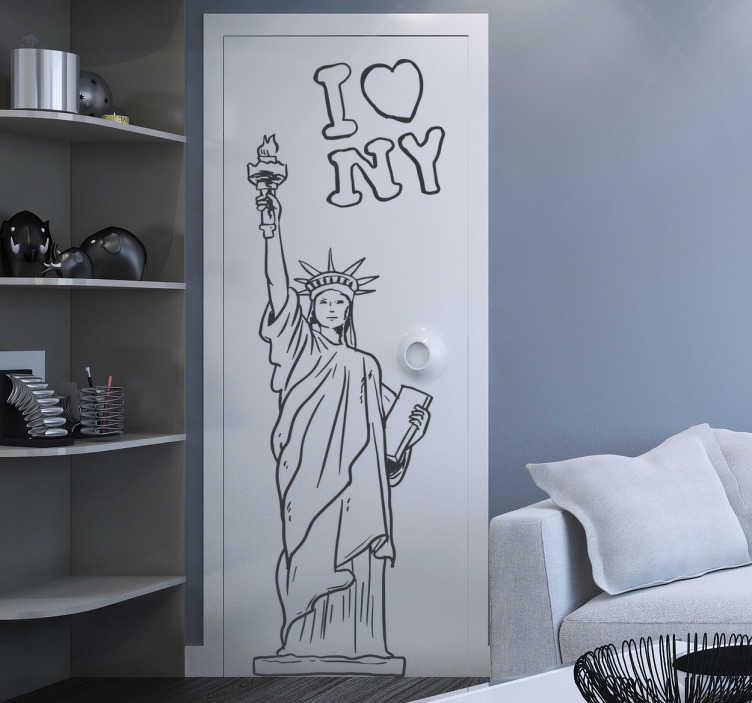TENSTICKERS. 自由の女神アウトラインウォールステッカー. Wall stickers-有名なニューヨークの記念碑、自由の女神の輪郭スケッチ。