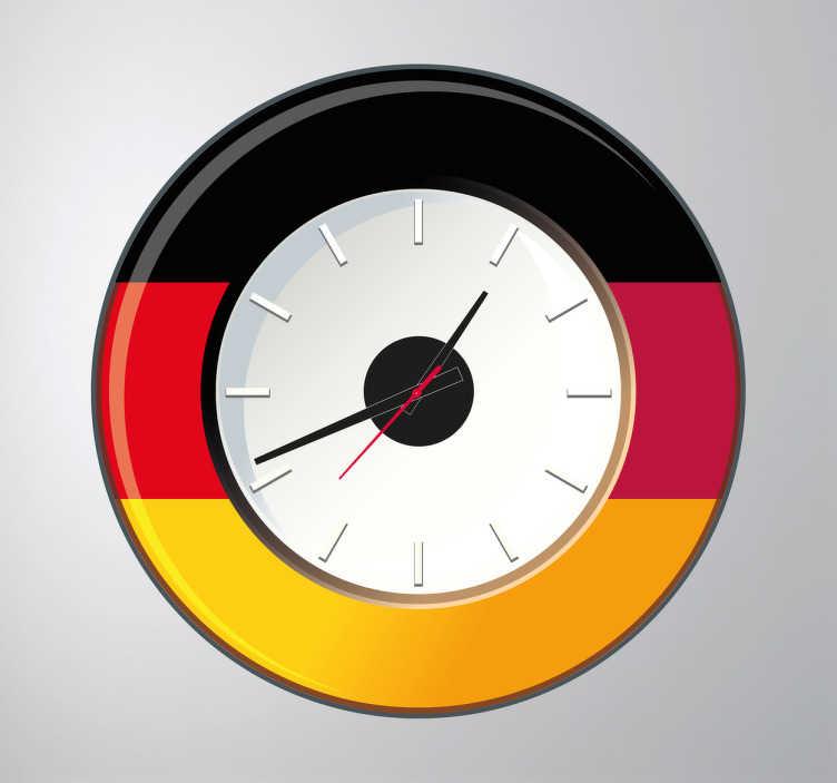 TenVinilo. Vinilo reloj pared Alemania. Colorido vinilo de reloj para pared con la bandera germana.Incluye reloj de Ø23 cm (Diámetro), cuerpo del mecanismo de Ø8,5 cm (Diámetro)Aguja Horaria: 9,3 cm / Aguja Minutero: 13,2 cm / Aguja Segundera: 9 cm