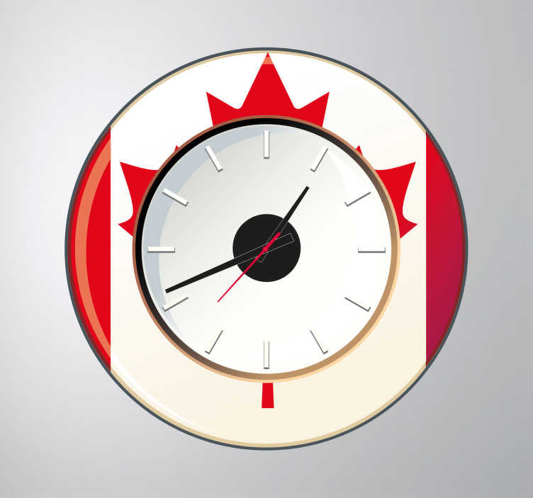 TenStickers. Sticker horloge Canada. Décorez vos murs avec l'emblème canadien grâce à ce sticker horloge. Comprend horloge 23 cm de diamètre et mécanisme 8,5 cm de diamètre.  Aiguille heures : 9,3 cm / Aiguille minutes : 13,2 cm / Aiguille secondes : 9 cm