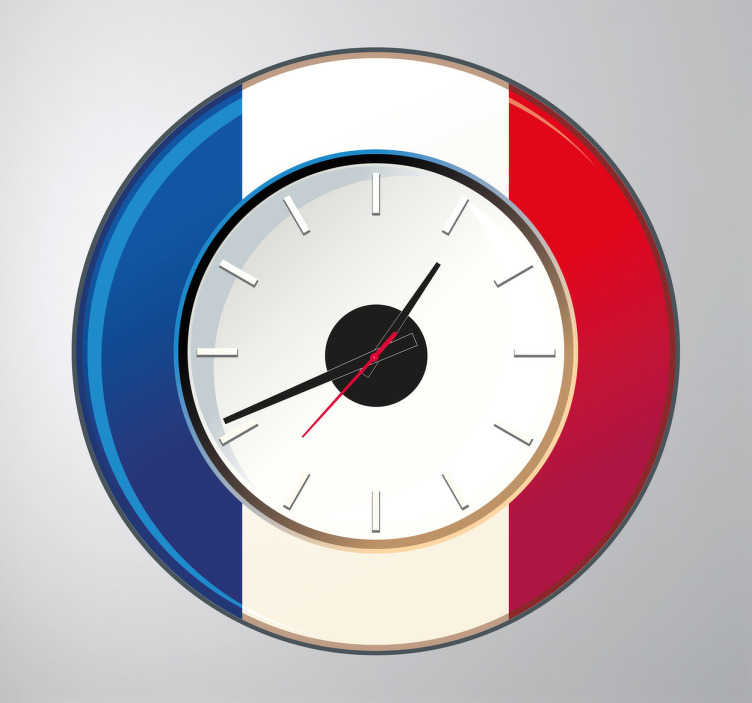 TenStickers. France Wall Clock Sticker. Wall Clocks - French flag clock design. Distinctive, ideal for decorating the home.