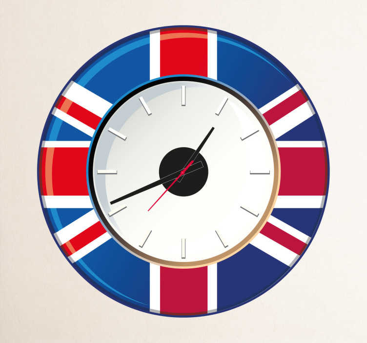 TenStickers. Great Britain Wall Clock Sticker. Wall Clocks - GB flag clock design. Original and distinctive, ideal for decorating the home.