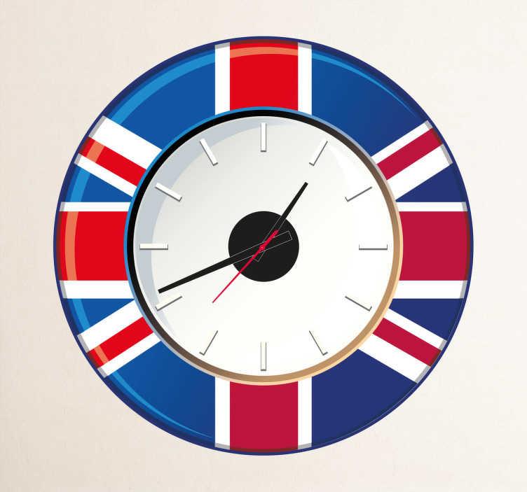 TenVinilo. Vinilo reloj pared Gran Bretaña. Vinilo de reloj para pared con la famosa bandera Británica.Incluye reloj de Ø23 cm (Diámetro), cuerpo del mecanismo de Ø8,5 cm (Diámetro)Aguja Horaria: 9,3 cm / Aguja Minutero: 13,2 cm / Aguja Segundera: 9 cm
