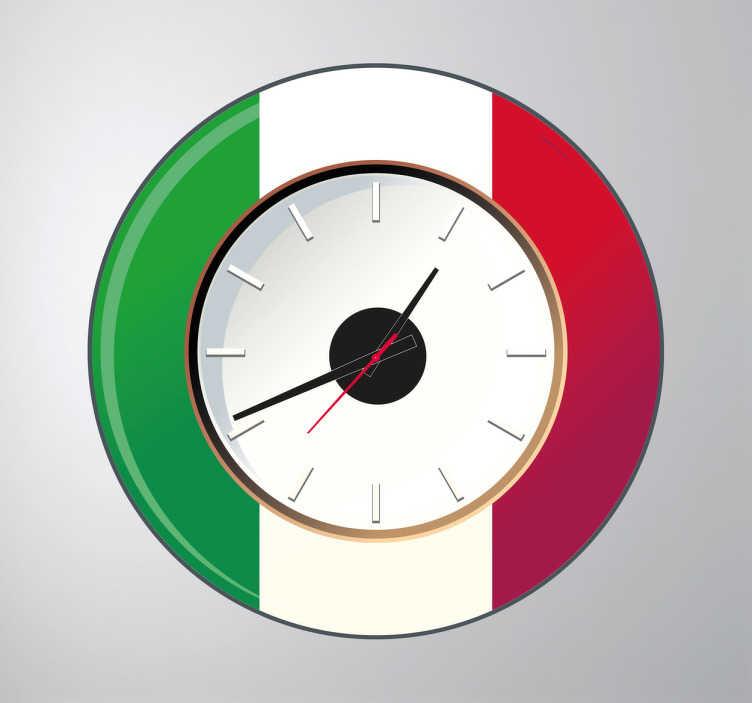 TenStickers. Naljepnica zidni sat italije. Zidni satovi - dizajn talijanskih zastava. Prepoznatljiv i idealan za uređenje doma. Pogodno za bilo koju sobu u vašem domu