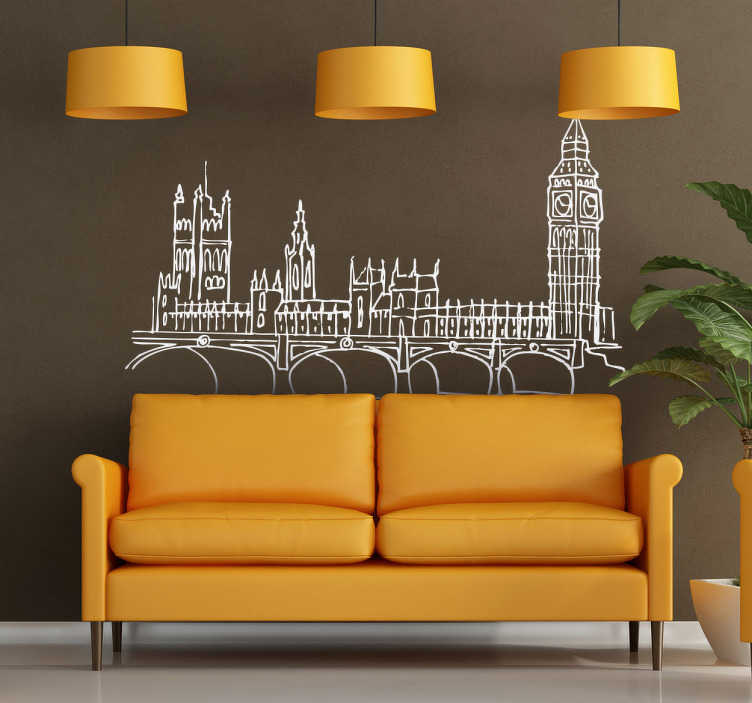TENSTICKERS. ウェストミンスタースカイラインウォールステッカー. スカイラインの壁ステッカー - ロンドンの壁のステッカーは、ウェストミンスターのスカイラインを示しています。ウェストミンスターデカールには、大きなベンとウェストミンスター寺院の修道院があります。あなたの家やオフィスで、世界で最も偉大な都市のスカイラインを持っています。