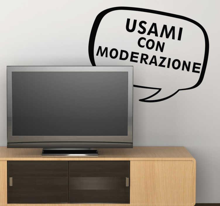 TenStickers. Adesivo murale con moderazione. Se ami la televisioni e stai cercando uno sticker simpatico per decorare la parete della dove si trova la tua televisione.