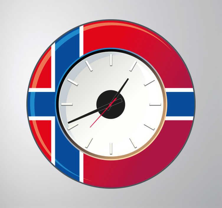 TenStickers. Sticker horloge Norvège. Sticker horloge Norvège aux couleurs du pays nord européen. Comprend horloge 23 cm de diamètre et mécanisme 8,5 cm de diamètre.  Aiguille heures : 9,3 cm / Aiguille minutes : 13,2 cm / Aiguille secondes : 9 cm