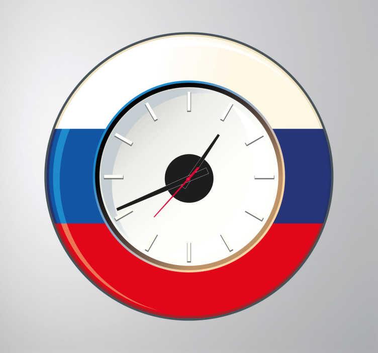 TenStickers. Naklejka zegar Rosja. Naklejki dekoracyjne przedstawiające zegar na tle mapy Rosji. Pomysłowa, niekonwencjonalna dekoracja do każdego wnętrza.