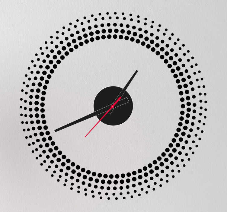 TenStickers. Gradient Circles Wall Clock Sticker. Wall Clocks - Dotted frame design. Distinctive and ideal for decorating your home or any space.