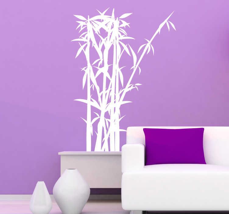 TenStickers. Naklejka dekoracyjna bambusowy krzew. Naklejka na ścianę w orientalnym stylu ukazująca pęk drzewa bambusowego.