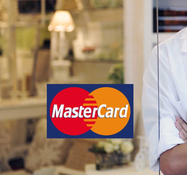 TenStickers. 마스터 카드 로고 스티커. 비즈니스 스티커 - 고객이 마스터 카드를 받는다는 사실을 고객이 알기를 원한다면이 상점 창 데칼은 구매자를 늘리는 데 필요한 것입니다.