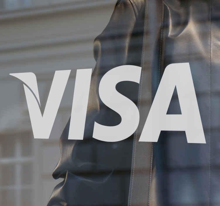 TenStickers. Naklejka logo VISA. Naklejka na witryny sklepowe i inne z logo VISA, poinformuj klientów o mozliwości dokonania tranzakcji za pomocą tej karty.