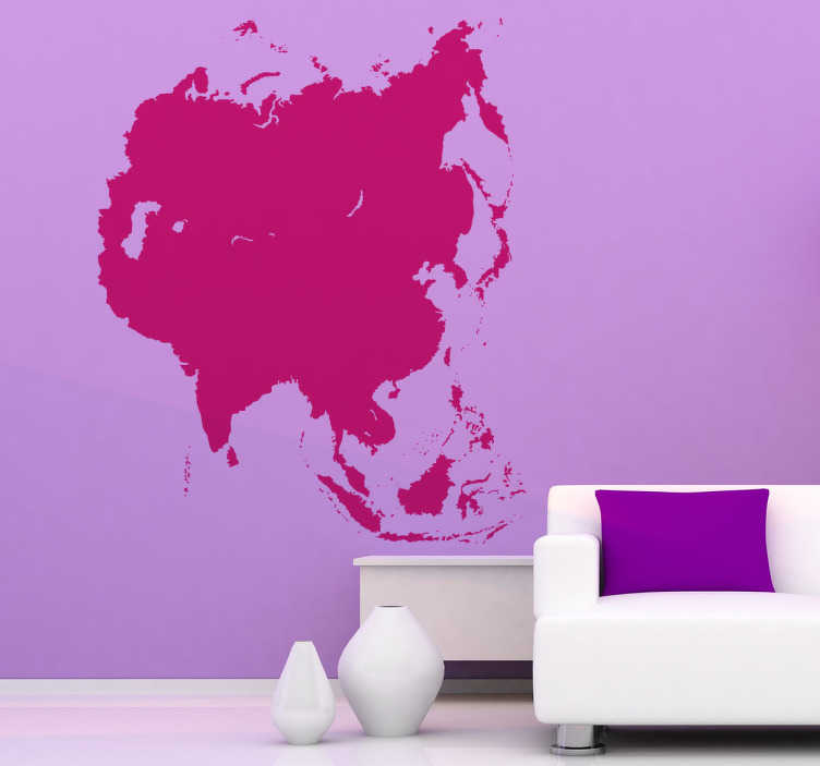 TenStickers. Naklejka kształt mapy Azji. Naklejka dekoracyjna przedstawiająca jednokolorową mapę Azji, którą możesz umieścić na Twojej ścianie. Obrazek jest dostepny w wielu kolorach i wymiarach.