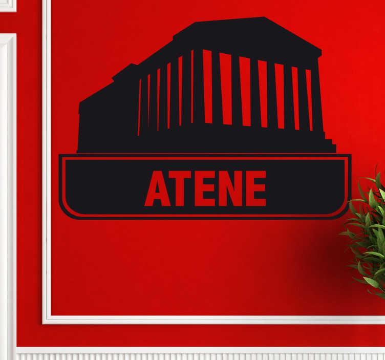 TenStickers. Sticker decorativo logo città Atene. Adesivo decorativo che raffigura un'icona del Partenone simbolo della capitale greca. Una decorazione ideale per le superfici vetrate delle finestre.