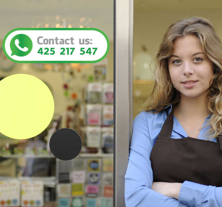 "TenStickers. Contact Us Whatsapp Decorative Sticker. This original decal shows a picture of Whatsapp with the text ""Contact us""."