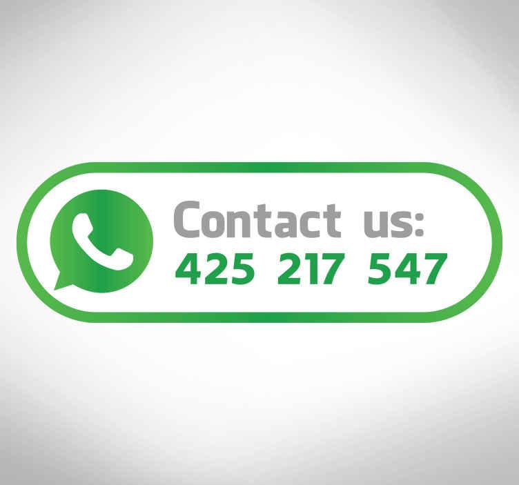 """TenStickers. Bedrijfssticker Contact Us Whatsapp. Deze raamsticker toont het WhatsApp icoontje met de tekst """"Contact us"""" en is ideaal voor in de etalage van uw bedrijf. Dagelijkse kortingen."""