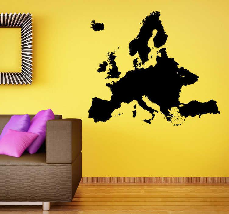 TenStickers. Autocollant mural carte de l'Europe. Un sticker mural représentant la carte du continent Européen. Idéal pour le salon, la chambre ou la salle à manger. Promo Exclusives par email.