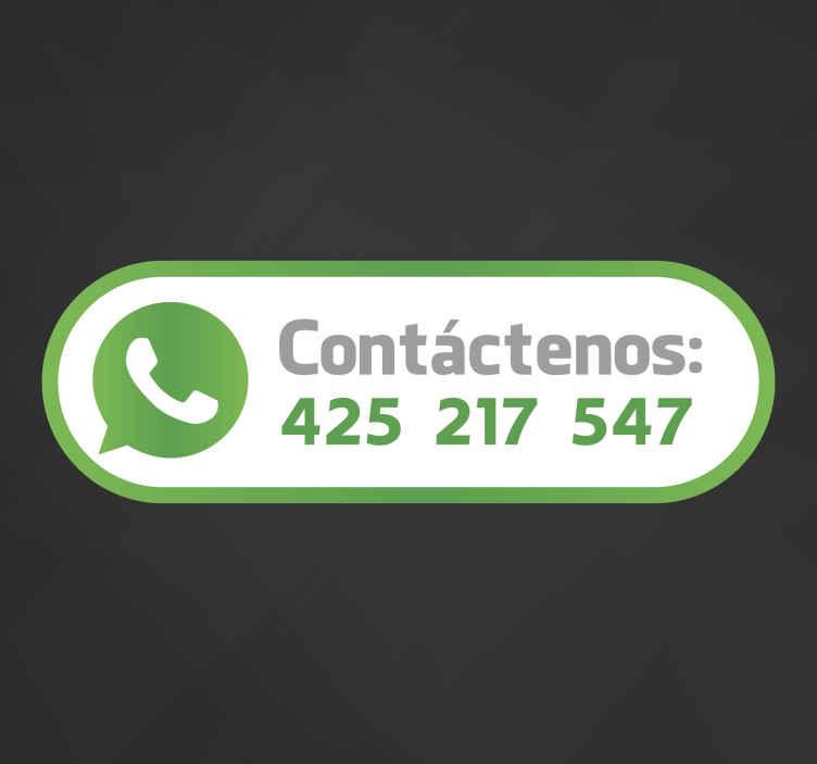 TenVinilo. Adhesivo etiqueta tienda whatsapp. Adhesivo decorativo con el que señalar a tus clientes como contactar con tu negocio y proporcionar un servicio de proximidad y calidad.