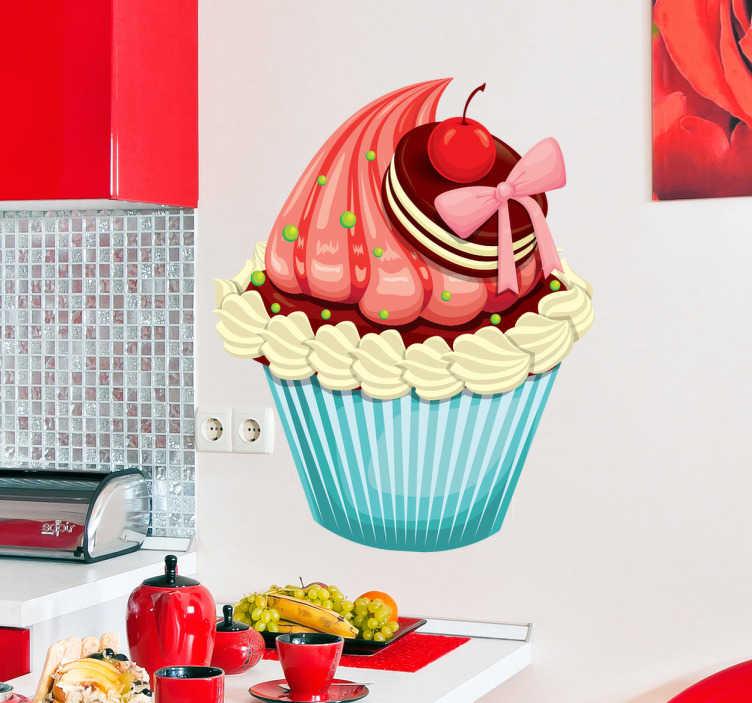 TenStickers. Stencil muro cupcake biscotto e ciliegia. Adesivo murale con un delizioso cupcake ideale per decorare la tua cucina o il tuo negozio di dolciumi.