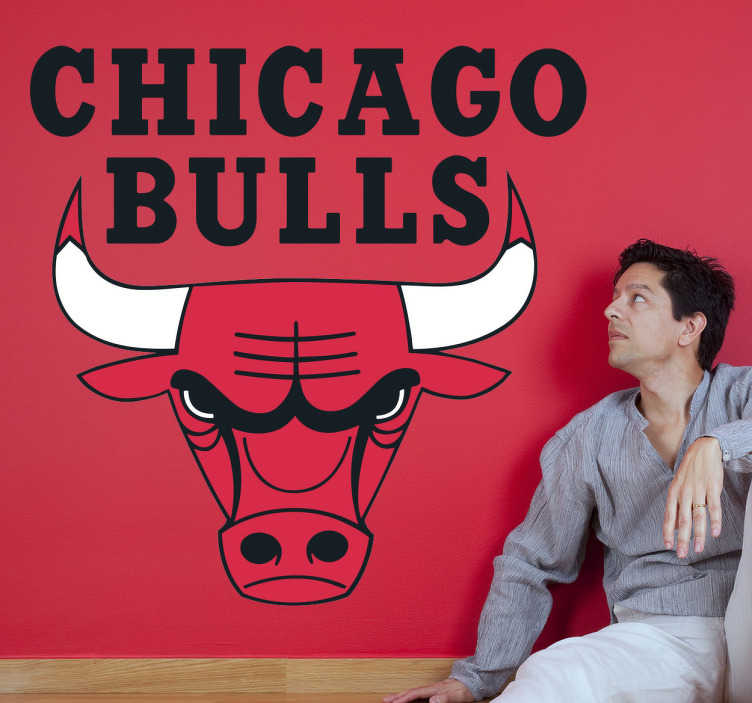TenVinilo. Vinilo decorativo logotipo chicago bulls. Adhesivo decorativo de los Chicago Bulls para los fanáticos del baloncesto y la NBA. Personaliza tu habitación y crea una atmósfera como si estuvieras viendo un partido de básquet.