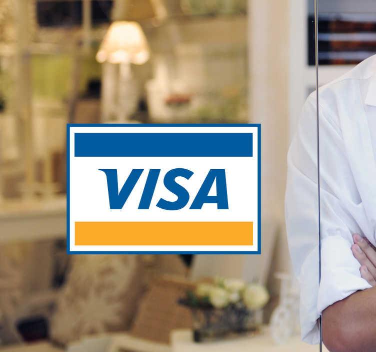 TenStickers. 비자 카드 가게 창 스티커. 비자 카드 샵 창문 데칼 - 비자 카드로 결제를 허용했는지 확인 했습니까? 이 상점 창 스티커로 모두에게 알리고 더 많은 고객을 유치하십시오.
