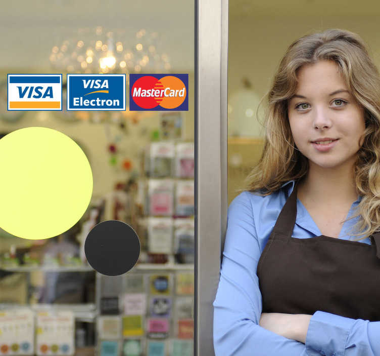 TenStickers. Adesivo para cartões de pagamento. Adesivo decorativo ilustrando diferentes tipos de cartões de pagamento, ideal para aplicar na montra do seu estabelecimento!