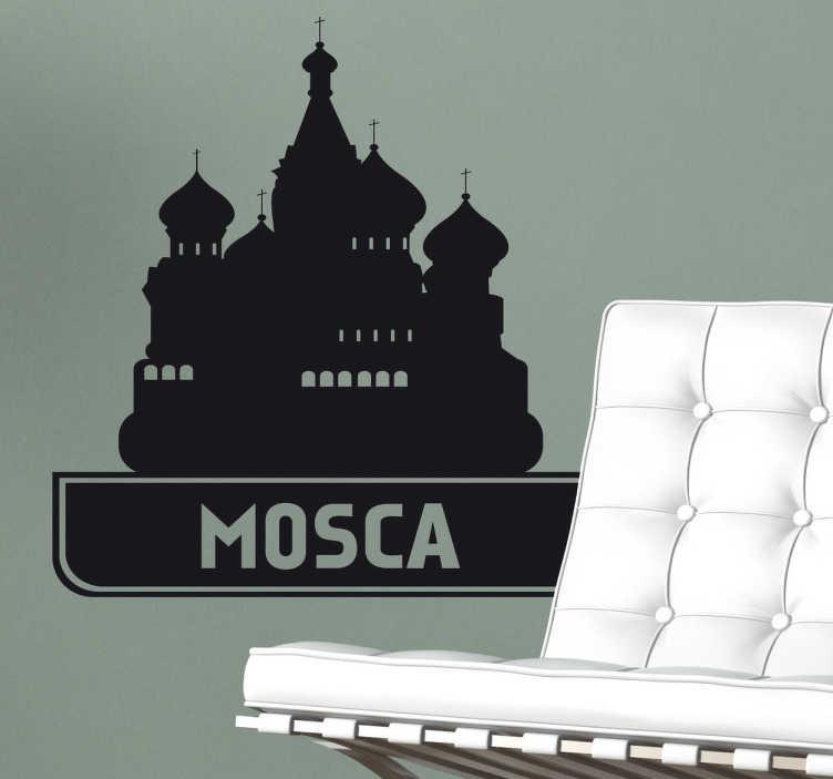 TenStickers. Sticker decorativo città Mosca. Adesivo murale che raffigura un'icona della cattedrale di San Basilio simbolo della capitale russa.