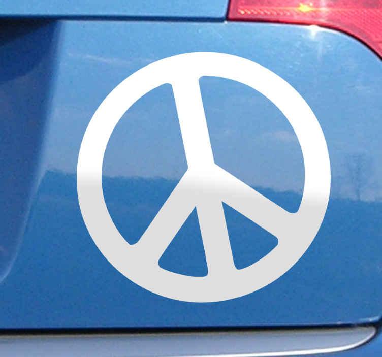 TenStickers. Sticker vredesymbool. Deze sticker omtrent het universele pictogram van de pacifist. Pleit u voor vrede in de wereld? Dan is deze ideaal voor u!