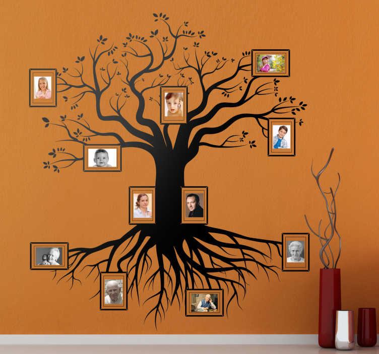 TenVinilo. Vinilo decorativo árbol genealógico. Original vinilo para decoración con la vista completa de un árbol con marcos incluídos para colocar tus fotos favoritas.Podrás incluir en orden de antigüedad los distintos miembros de tu familia. Para fotografías estándar de 10x15 cm recomendámos las dimensiones de 153x175 cm.